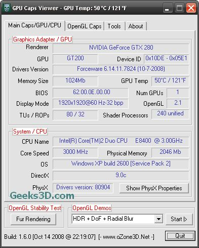 GPU Caps Viewer and ForceWare 17.24