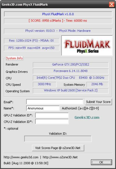 PhysX FluidMark + ForceWare 180.48
