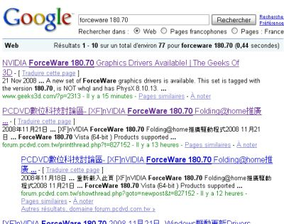 Google et ForceWare 180.70