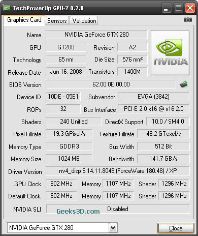 GPU-Z + ForceWare 180.48