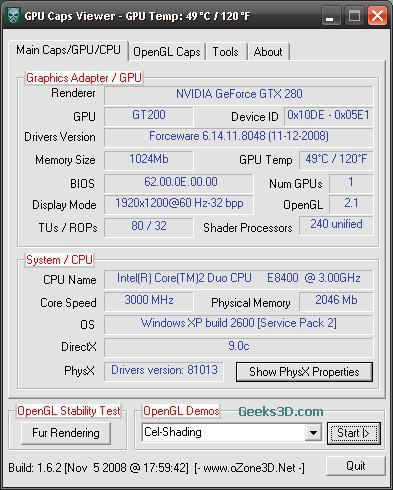 GPU Caps Viewer + ForceWare 180.48