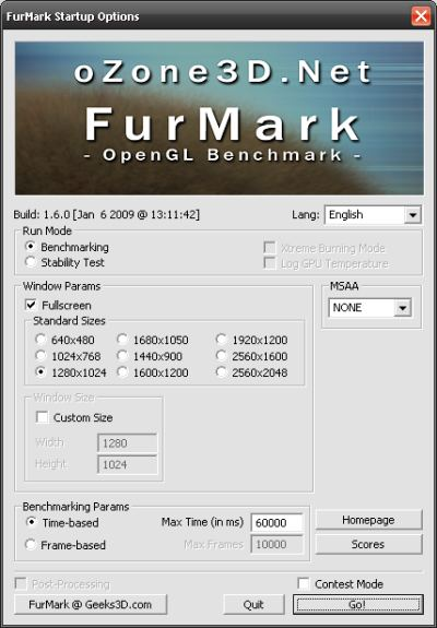 FurMark Main Interface