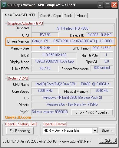 GPU Caps Viewer / Catalyst 9.1
