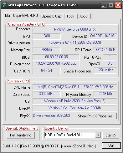 ForceWare 182.05 + GPU Caps Viewer