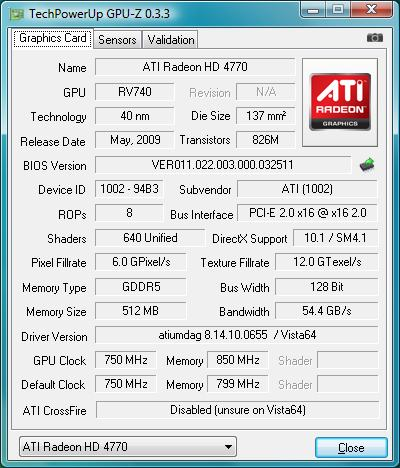 ATI Radeon HD 4770: GPU-Z