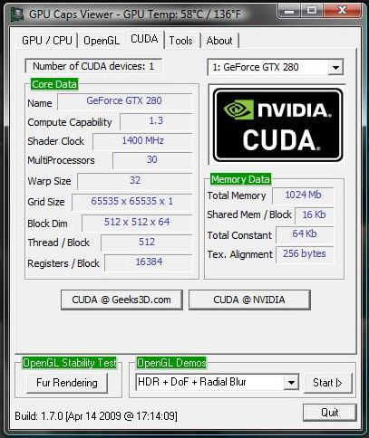 GPU Caps Viewer - CUDA - GeForce GTX 280