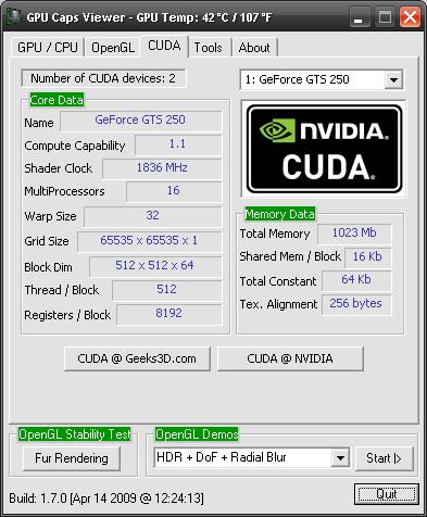 GPU Caps Viewer - CUDA panel