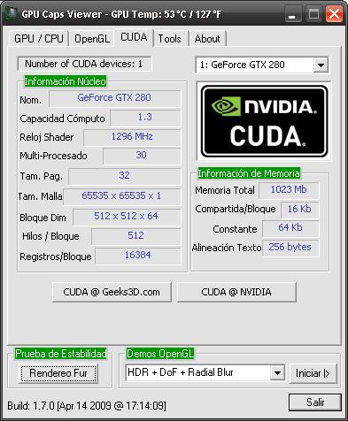 GPU Caps Viewer spanish - NVIDIA CUDA panel