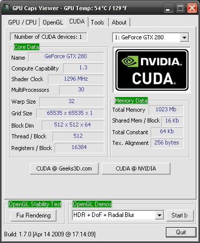 GPU Caps Viewer + ForceWare 185.85 + GTX 280