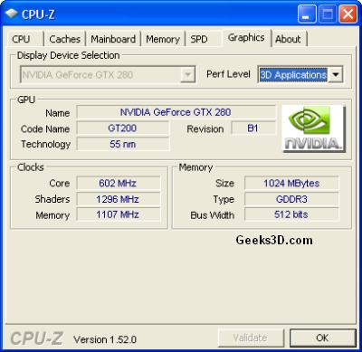 CPU-Z - Graphics - Performance level: 3D Applications