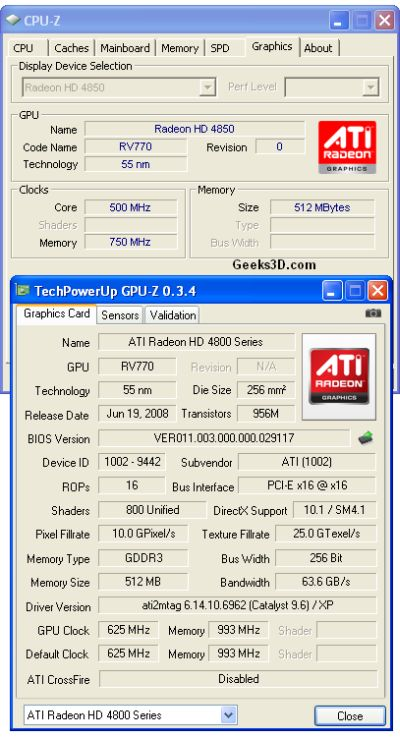 CPU-Z vs GPU-Z - Radeon HD 4850