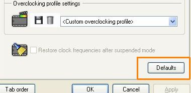 RivaTuner restore default clocks