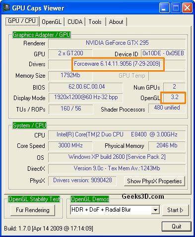 GPU Caps Viewer and ForceWare 190.56