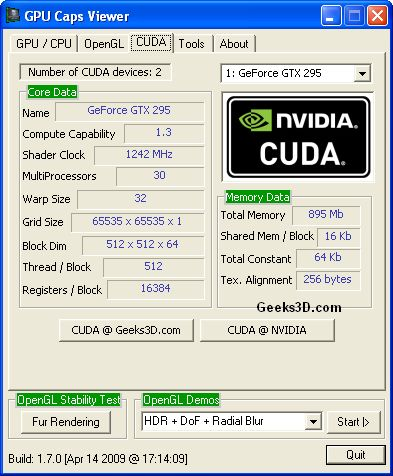 GPU Caps Viewer and ForceWare 190.56 - CUDA features