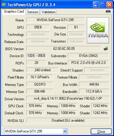 NVIDIA GeForce GTX 295 - GPU-Z