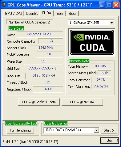 NVIDIA GeForce GTX 295 - GPU Caps Viewer - CUDA