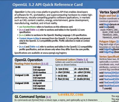 OpenGL 3.2 reference card