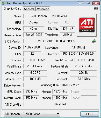 ATI Radeon HD 5870 - GPU-Z