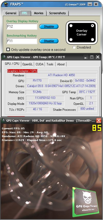 FRAPS 2.9.9 + GPU Caps Viewer