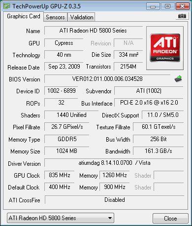 HIS Radeon HD 5850 - GPU-Z