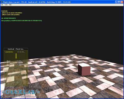 GeeXLab - NVIDIA PhysX