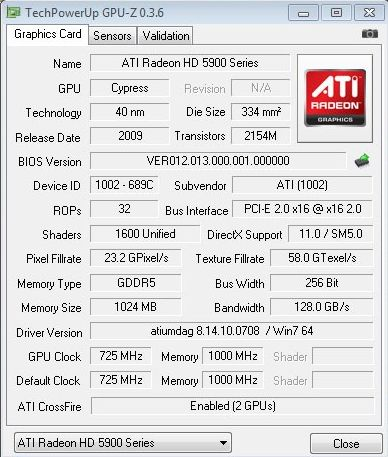 Radeon HD 5870 X2 (or HD 5970 Hemlock) - GPU-Z
