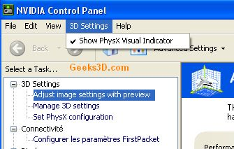 NVCPL PhysX Visual Indicator