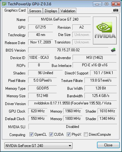 NVIDIA GeForce GT 240 + GPU-Z