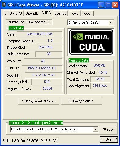 GPU Caps Viewer 1.8.0 + NVIDIA CUDA