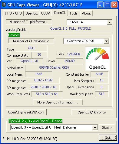 GPU Caps Viewer 1.8.0 + OpenCL GPU NVIDIA