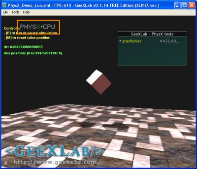GeeXLab + PhysX Visual Indicator