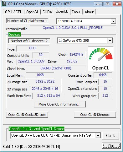 GPU Caps Viewer 1.8.2 with OpenCL support