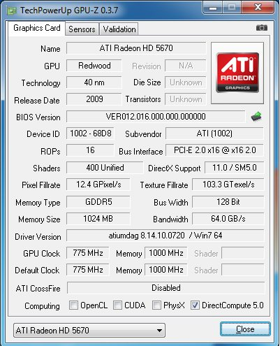 Radeon HD 5670 + GPU-Z