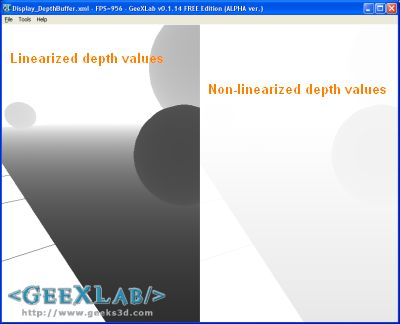 GeeXLab - Display the Depth Buffer