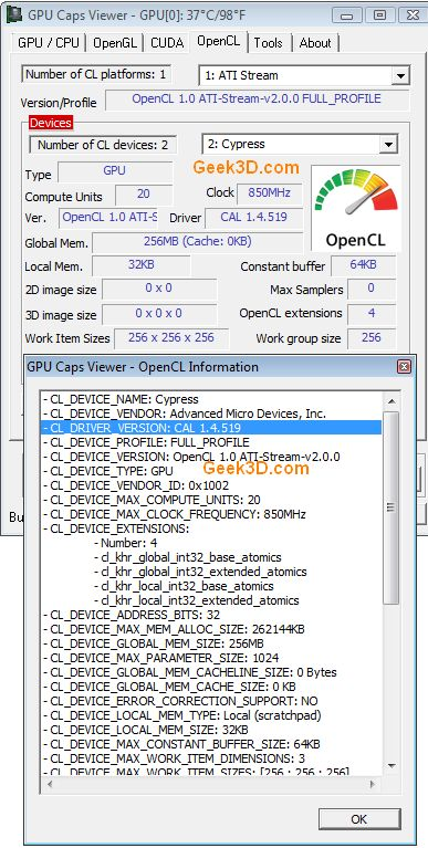 OpenCL and GPU Caps Viewer
