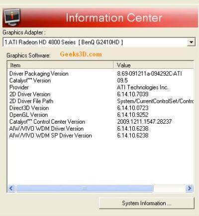 ATI Catalyst Graphics Drivers - CCC