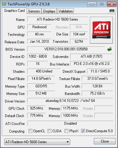 ATI Radeon HD 5670 GPU-Z