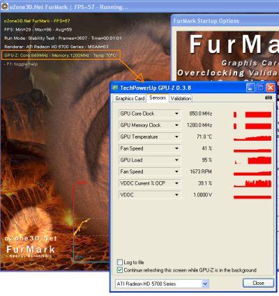 FurMark 1.8.0 + GPU-Z
