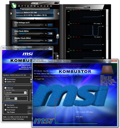 MSI Afterburner 1.6.0 + Kombustor 1.0.2