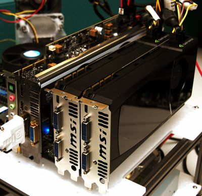 2 x GeForce GTX 470 and 1 x Radeon HD 5870 on a Hydra based motherboard