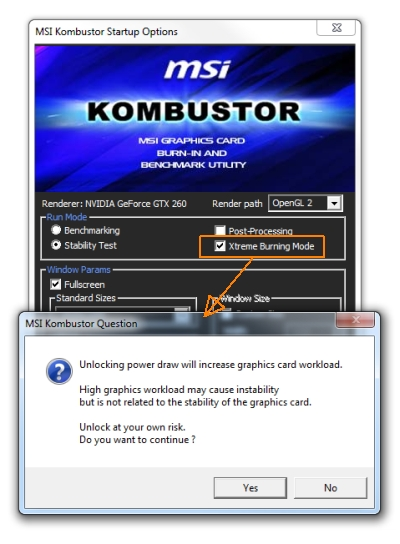 MSI Kombustor 1.0.2 - Warning message