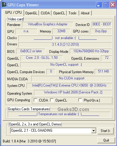 VirtualBox 3.14 - GPU Caps Viewer