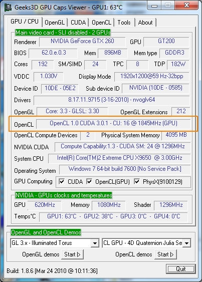 GPU Caps Viewer - GTX 260 - OpenCL support