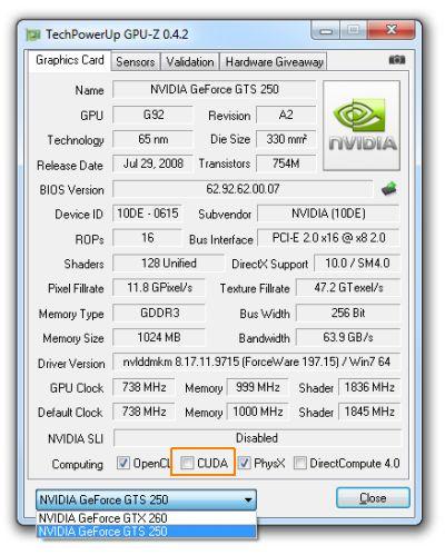 GPU-Z 0.4.2 with a GTS 250
