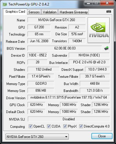 GPU-Z 0.4.2 with a GTX 260