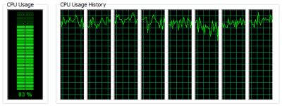 8-core CPU and FluidMark - task manager