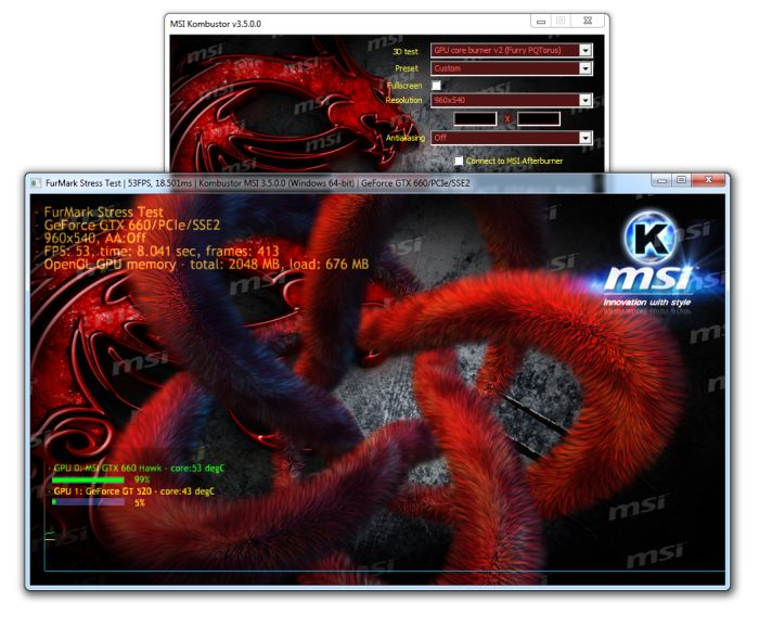 MSI Kombustor - Fur rendering test with a PQTorus