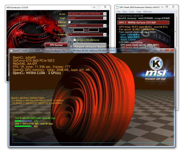 MSI Kombustor - OpenCL computing test - Julia4D