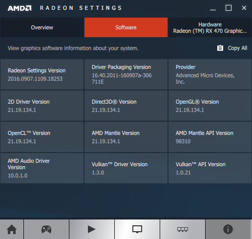 AMD Crimson 16.9.1 - software info
