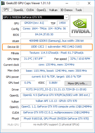 GPU Caps Viewer - full device ID - GTX 970